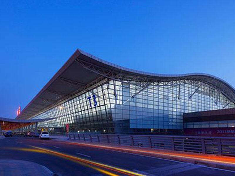 Metal aluminum curtain wall, profiled ceiling, wood grain aluminum veneer - Xi'an Xianyang Airport